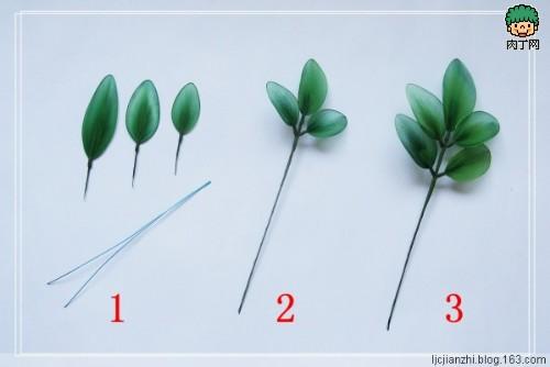 如何制作丝网花四,叶子