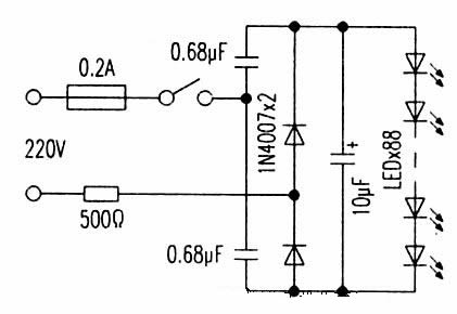 68uf电容既是全波倍压整流电路元件,又有限流作用.
