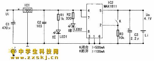 ic2的max1811集成电路有两个设置端:①脚为充电电压设置端.