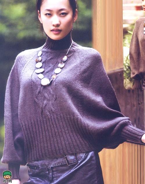 披肩式高腰毛衣编织款式