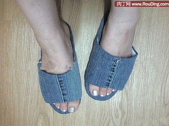 旧牛仔裤改造拖鞋diy,牛仔拖鞋的做法