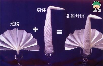 餐巾折法:酒杯中的孔雀