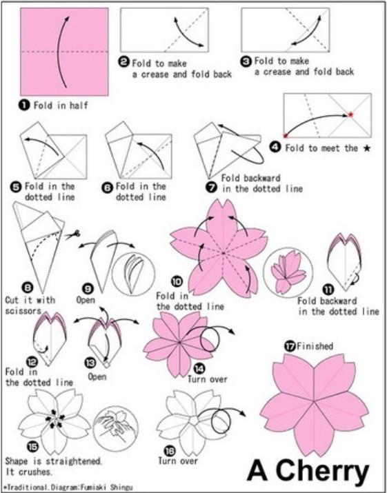 折纸樱花图解 让樱花也能在家中盛开