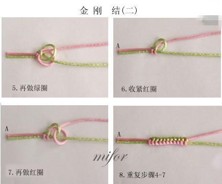 手工编织中国结金刚结红绳手链图解图片