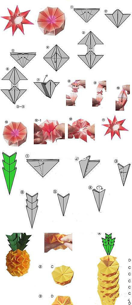 diy手工菠萝折纸方法图解-封存