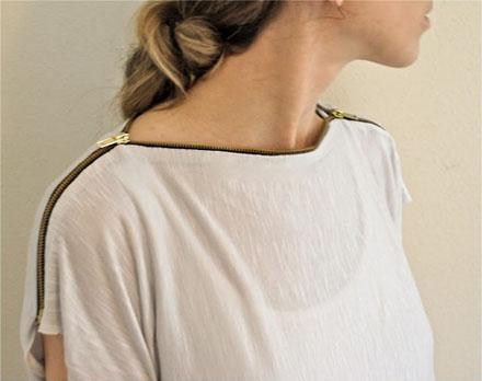 个性创意的旧衣改造DIY 拉链装饰T恤