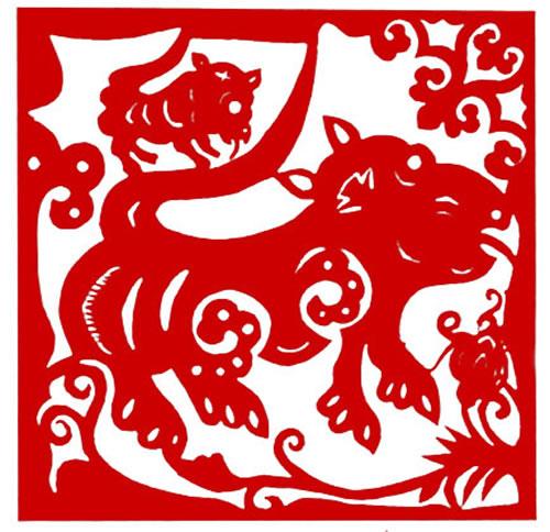 动物剪纸——雄虎与幼虎 19×19cm 传世纹样