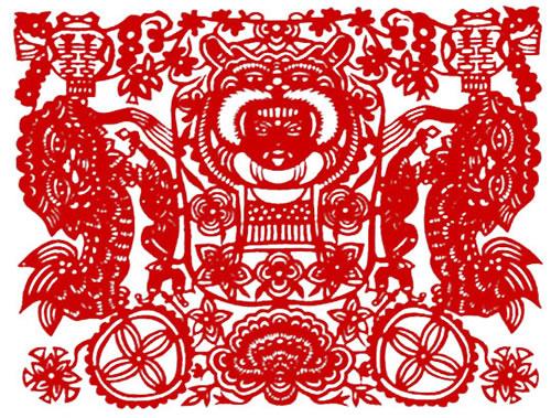 吉祥寓意喜庆剪纸图案 舞狮子图 21×16cm 传世纹样图片