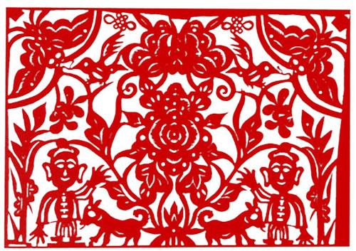 民间剪纸图案大全祈福剪纸欣赏 洪福天降图 45×32cm 传世纹样炕窑花