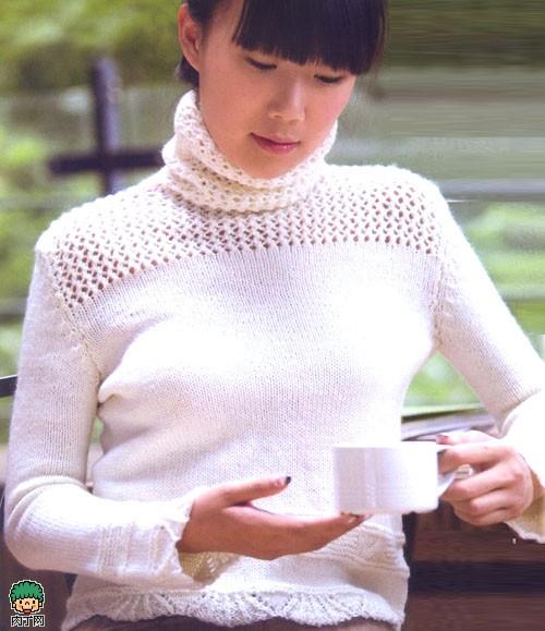 高领毛衣织法 荷叶边镂空肩高领毛衣编织花样图解