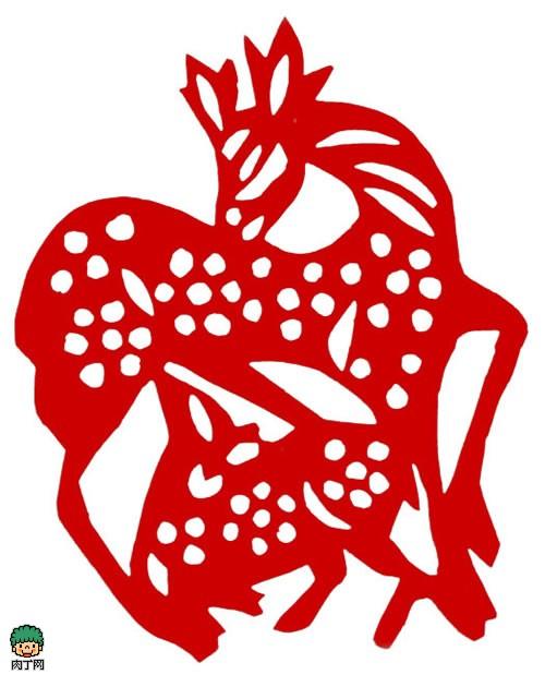 动物窗花剪纸 梅花鹿 13×16cm 清代