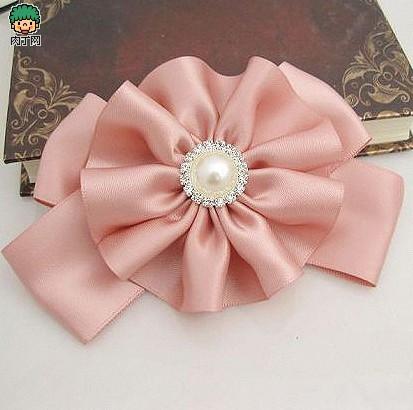 diy蝴蝶结发饰制作教程 粉色花朵蝴蝶结发夹图片