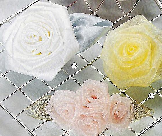 5种diy玫瑰花头花制作效果