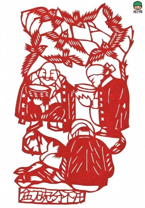 四年级八开纸精美水彩画-四、碗盆难分开   陕西人(老陕)吃饭,喜欢用一种耀州产的近1尺的
