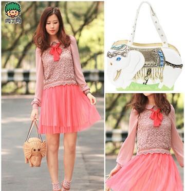 可爱的红裙子 粉色短裙t恤