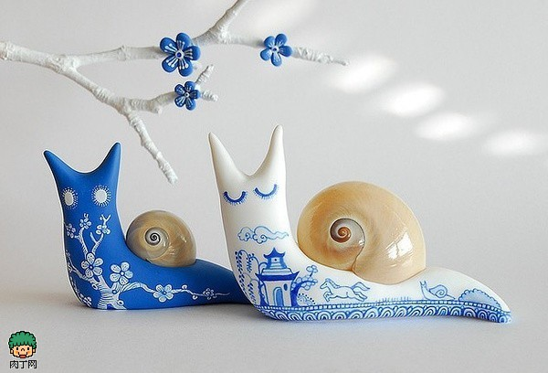 软陶DIY的手工蜗牛-软陶公仔作品 可爱的小蜗牛图片