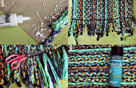 旧布条编织漂亮地毯的diy方法