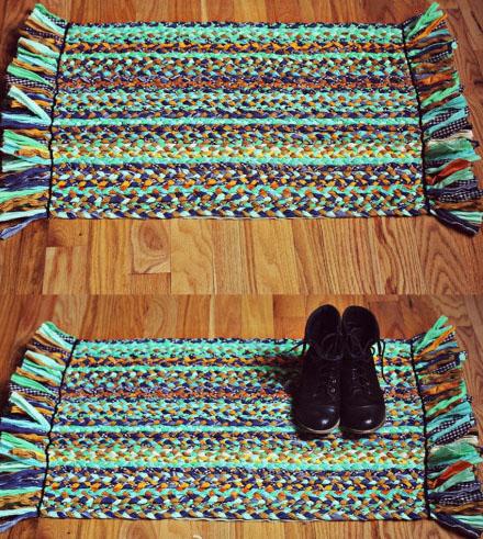旧物利用手工制作地毯工艺—旧布条编织漂亮地毯的