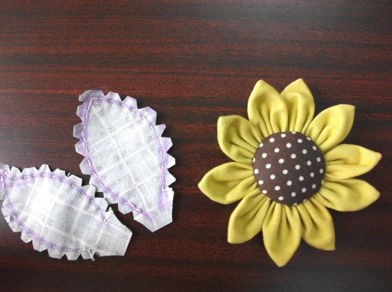 手工制作向日葵布艺装饰花图解图片