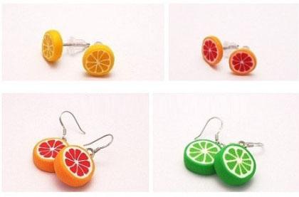 教你如何制作各色水果橙子软陶耳饰