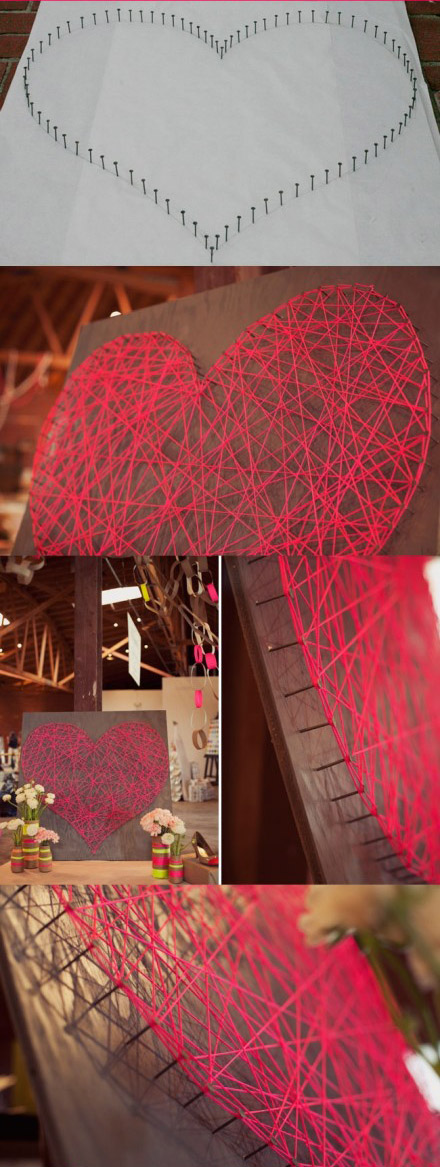 用废弃毛线制作的立体感客厅墙壁装饰画 家庭墙壁装饰DIY图解
