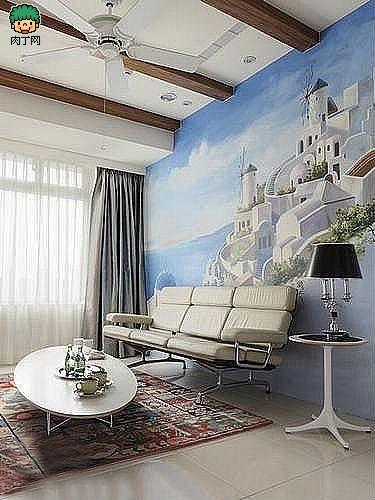 将沙发背景墙打造成一整幅壁画,将碧海蓝天下的希腊爱琴海直接搬到了