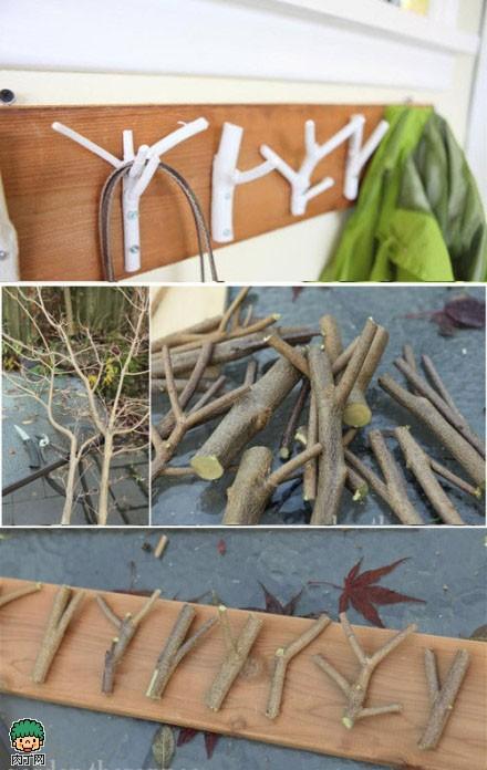 创意树枝DIY衣挂手工制作图解