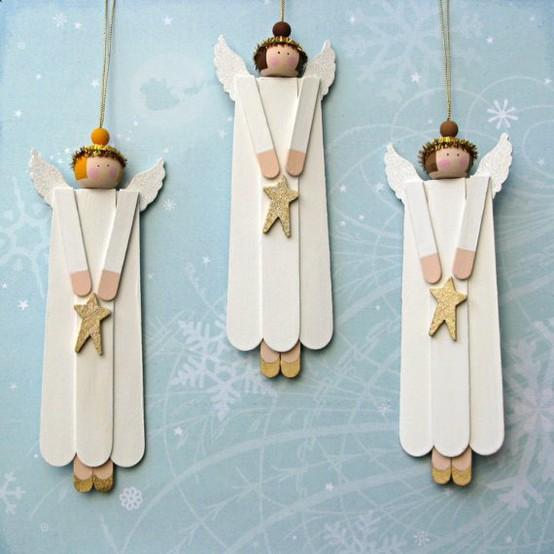 可爱挂饰 用旧冰棒棍制作可爱天使挂饰的图解