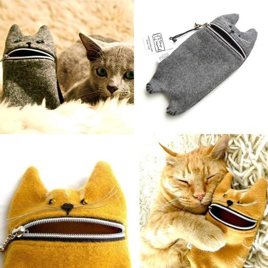 手工布艺可爱猫猫笔袋