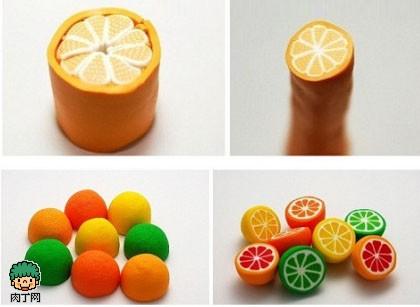 教你如何制作各色水果橙子软陶耳饰的方法图解
