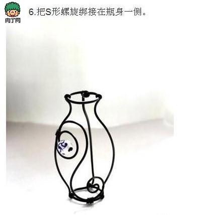 用铁丝做的工艺品 有趣的青花瓷花瓶DIY图解