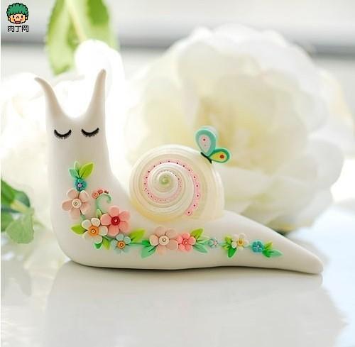 软陶公仔作品 可爱的小蜗牛图片
