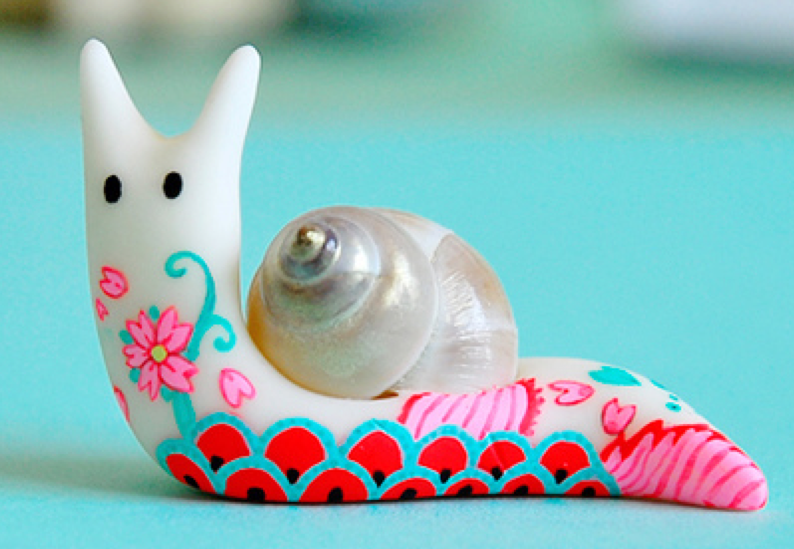 软陶公仔作品 可爱的小蜗牛-封存