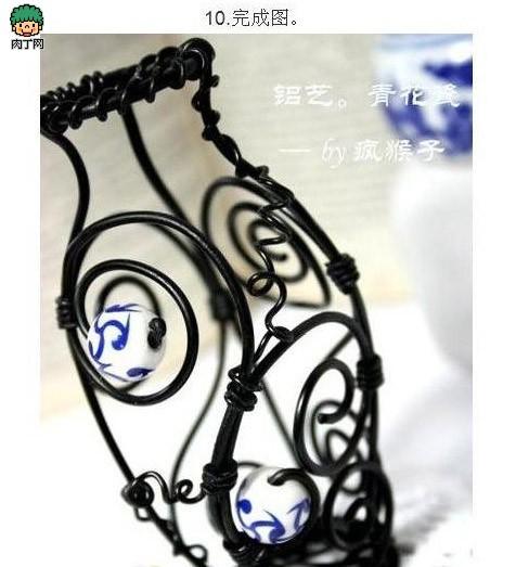 用铁丝做的工艺品 有趣的青花瓷花瓶diy图解-封存
