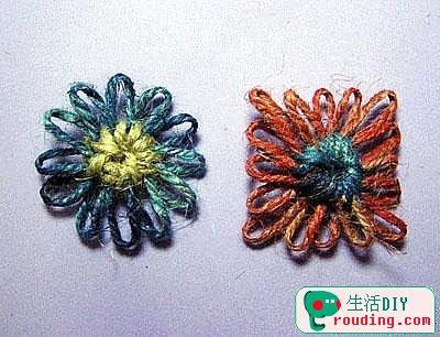 制作麻绳编织花形杯垫材料与工具:1.编花器 2.麻绳