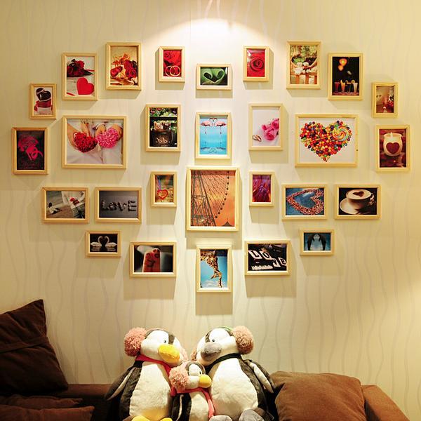 相片墙装修效果图_照片墙装修效果图   美画13框相片墙 黑