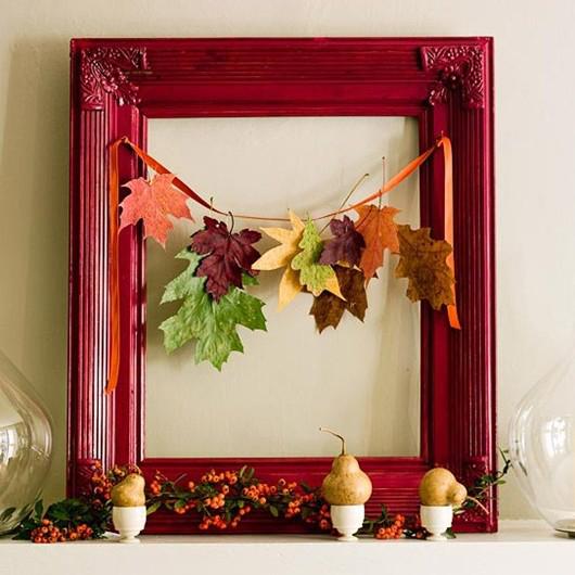 手工制作创意相框 用落叶diy的创意家居饰品